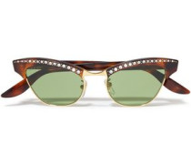 Woman Pixie Cat-eye Embellished Gold-tone And Tortoiseshell Acetate Sunglasses Light Green