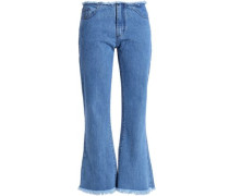 Frayed mid-rise kick-flare jeans