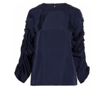 Mendini ruched satin-twill blouse