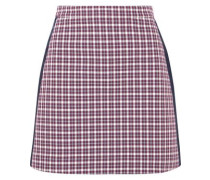 Satin-trimmed checked cotton-blend mini skirt