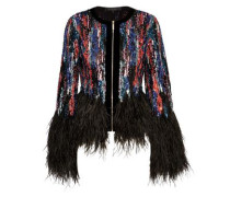 Woman Feather-trimmed Embellished Tulle Jacket Black