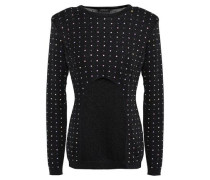 Cutout Crystal-embellished Stretch-knit Top Black