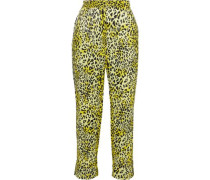Narethe Cropped Leopard-print Hammered Silk-satin Tapered Pants Yellow