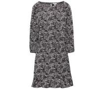 Printed Crepe De Chine Mini Dress Black