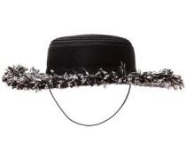 Brigitte Hemp-blend, Grosgain And Frayed Tweed Hat Black Size ONESIZE