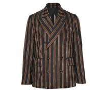 Double-breasted Striped Jacquard Blazer Black