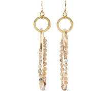 Gold-tone, Multi-stone And Cord Hoop Earrings Gold Size --