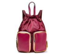 Leather-paneled Color-block Backpack Magenta Size --