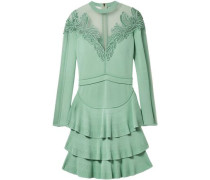 Appliquéd Tulle-paneled Stretch-knit Mini Dress Mint