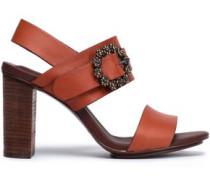 Buckle-embellished Leather Sandals Brick