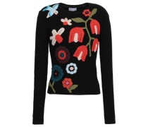 Crochet-embroidered Ribbed-knit Wool-blend Sweater Black