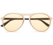 Round-frame gold-tone and tortoiseshell acetate sunglasses
