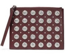 Studded Leather Pouch Burgundy Size --