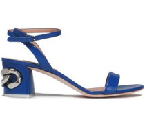 Chain-embellished patent-leather sandals