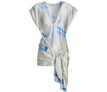 Draped Printed Silk-satin Top Off-white