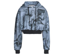 Cropped printed jersey hooded sweatshirt