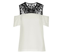 Glyn cold-shoulder lace-paneled crepe de chine top