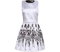 Pleated printed twill mini dress