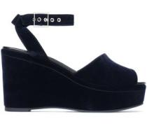 Velvet wedge sandals