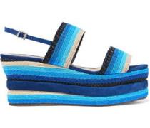 Striped woven platform slingback sandals