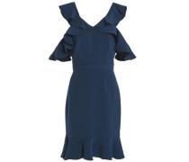 Delia cold-shoulder ruffled crepe mini dress
