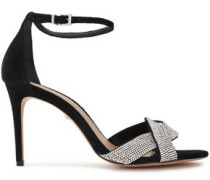 Jolita Crystal-embellished Metallic Leather Sandals Black