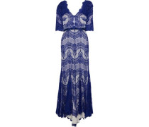 Kelly Satin-trimmed Corded Lace Gown Cobalt Blue