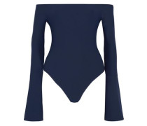 Off-the-shoulder Stretch-jersey Bodysuit Midnight Blue
