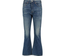 Cropped high-rise bootcut jeans