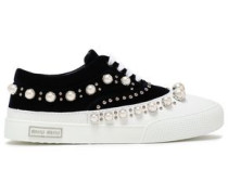 Woman Embellished Velvet And Leather Sneakers Navy