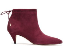 Sophie Cutout Suede Ankle Boots Burgundy