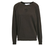Distressed French Cotton-terry Sweatshirt Army Green