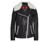 Ellerslie Shearling-trimmed Embroidered Textured-leather Biker Jacket Black