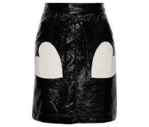 Appliquéd Crinkled Faux Patent Leather Mini Skirt Black