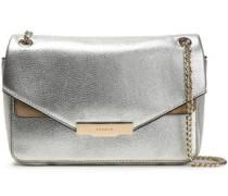 Suede-trimmed Metallic-leather Shoulder Bag Platinum Size --