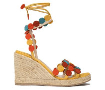 Suede Wedge Espadrille Sandals Yellow