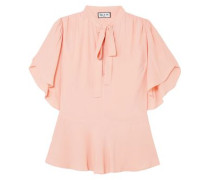 Gathered Crepe De Chine Blouse Blush