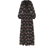 Guipure Lace-trimmed Floral-print Silk-georgette Gown Black
