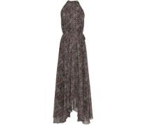 Irina Leopard-print Chiffon Halterneck Midi Dress Animal Print Size 14