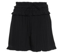 Pleated Shirred Crepe De Chine Shorts Black Size 00