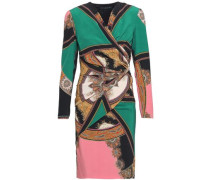 Wrap-effect gathered silk dress