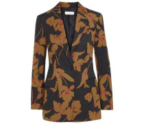 Vernay Printed Wool-blend Blazer Black