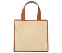 Raffia And Leather Tote Sand Size --