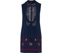Pintucked Floral-print Georgette-paneled Appliquéd Crepe Mini Dress Navy