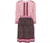 Lace-trimmed Crepe Mini Dress Baby Pink