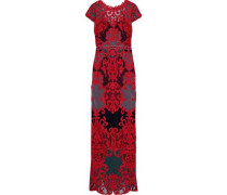 Cutout Scalloped Guipure Lace Gown Red