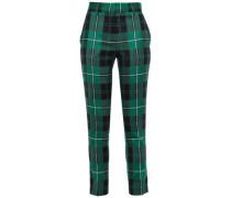 Checked Wool-twill Slim-leg Pants Green