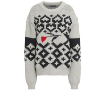 Woman Intarsia Cotton Sweater Light Gray