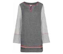 Kito striped gauze-paneled herringbone cotton-blend mini dress