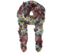 Fringed Metallic Knitted Scarf Multicolor Size --